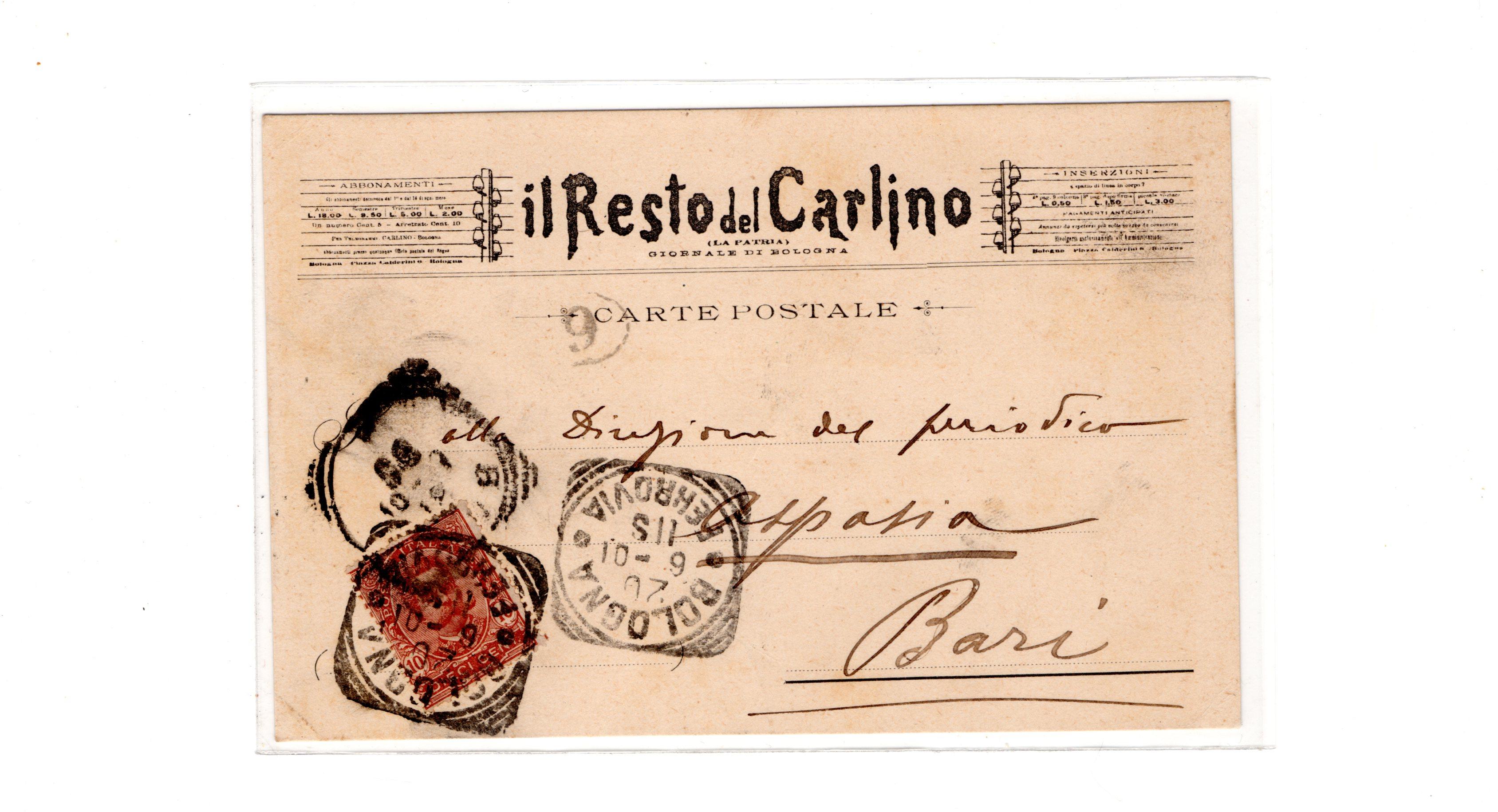 il resto del carlino 1901 - cartolina fronte