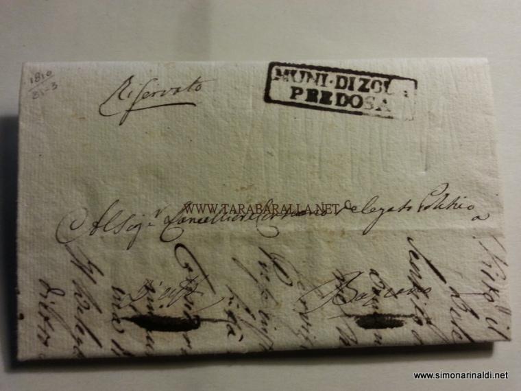 PREFILATELICA RARSSIMA DELL'ANNO DI COSTITUZIONE DEL COMUNE DI ZOLA PREDOSA 1810